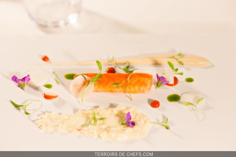 Recette chef yoann conte truite risotto - Recette de cuisine gastronomique de grand chef ...