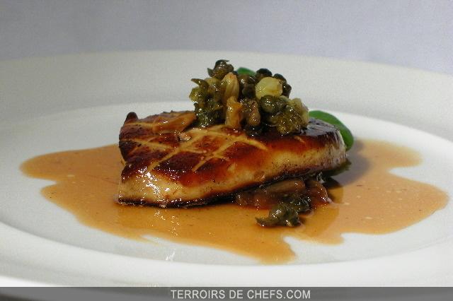 Escalopes de foie gras la cr me de lentilles vertes du puy viandes et volailles recettes - Recette plat gastronomique ...